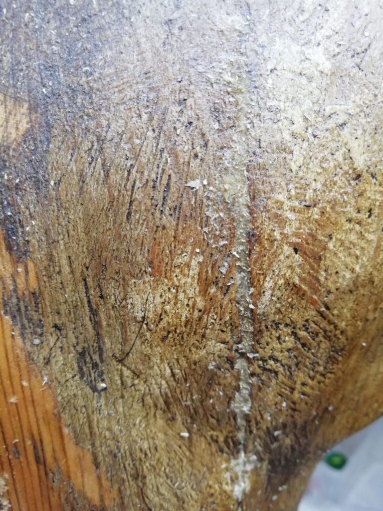 Schiena di scultura di moro veneziano dopo la stuccatura a legno