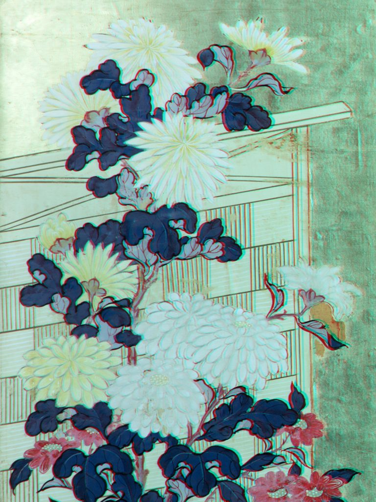 Immagine in infrarosso falso colore di carta dipinta