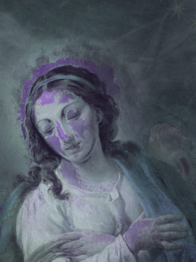 Immagine in fluorescenza UV di dipinto ad olio