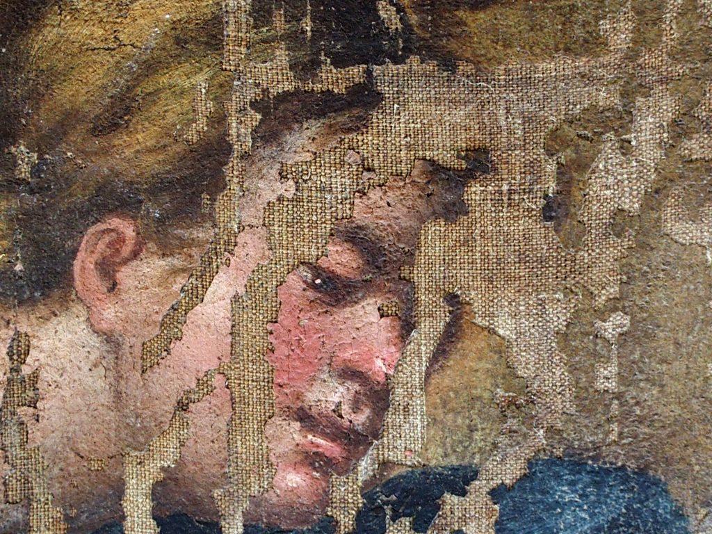 Particolare di lacune su dipinto ad olio