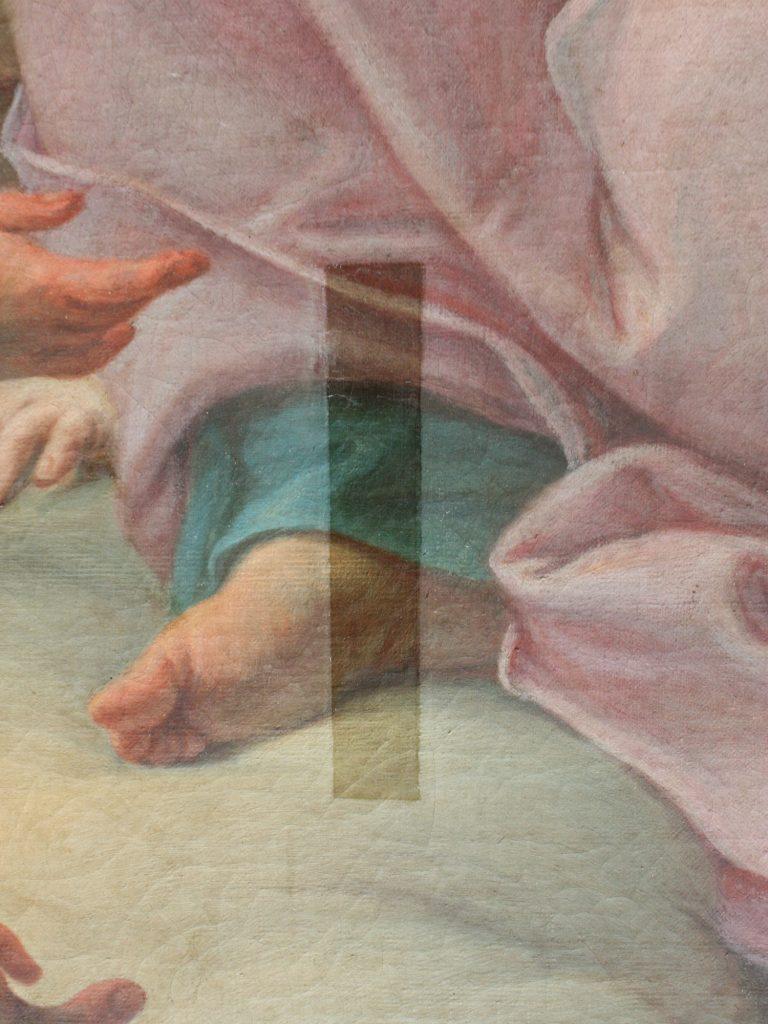Particolare di dipinto ad olio con residuo di vernice dopo pulitura