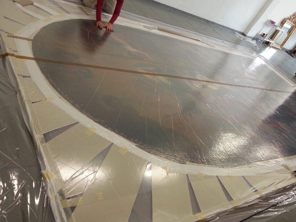 Tecnica del sottovuoto per consolidamento della pellicola pittorica