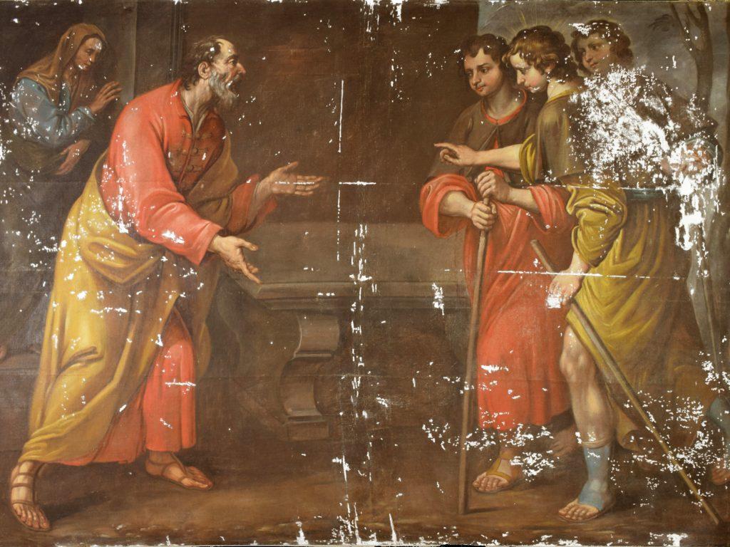 Dipinto durante la fase di stuccatura