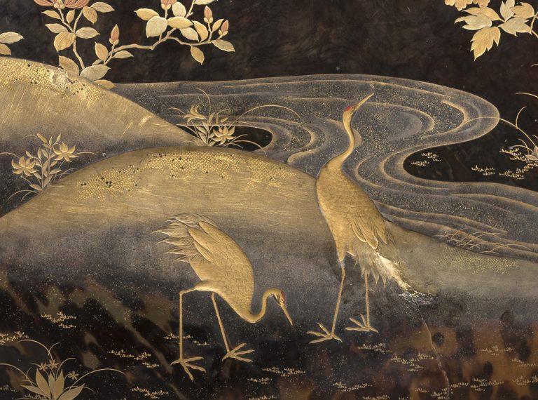Particolare di lacca giapponese su guscio di tartaruga