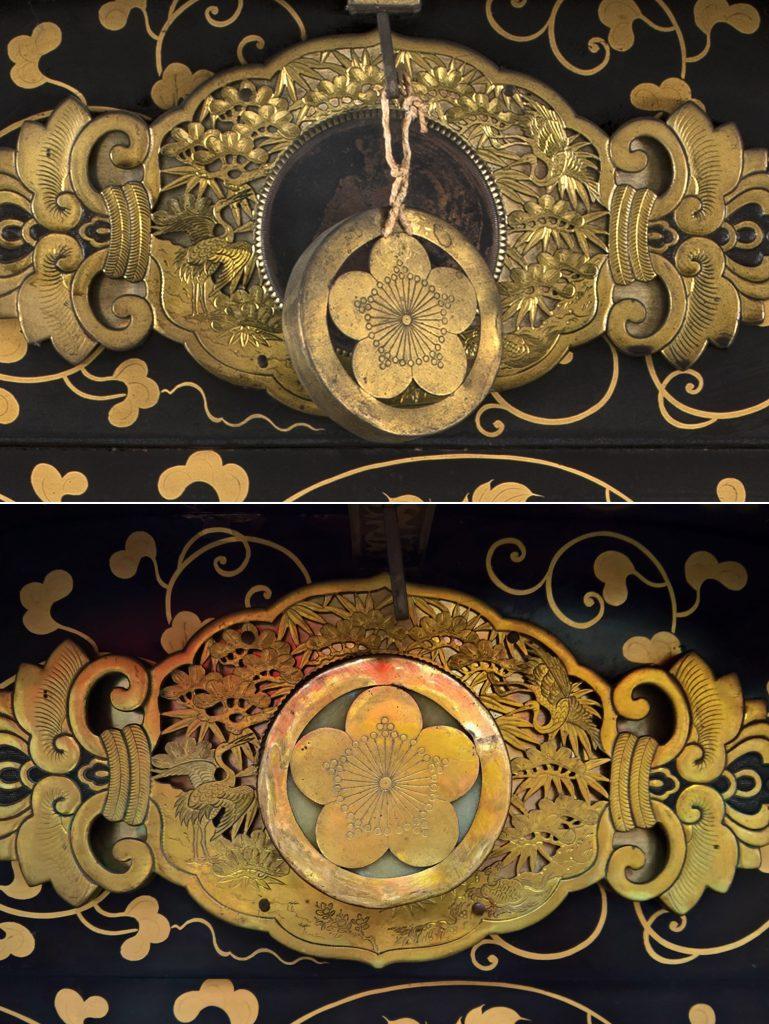 Particolare di fregio in rame dorato prima e dopo il restauro