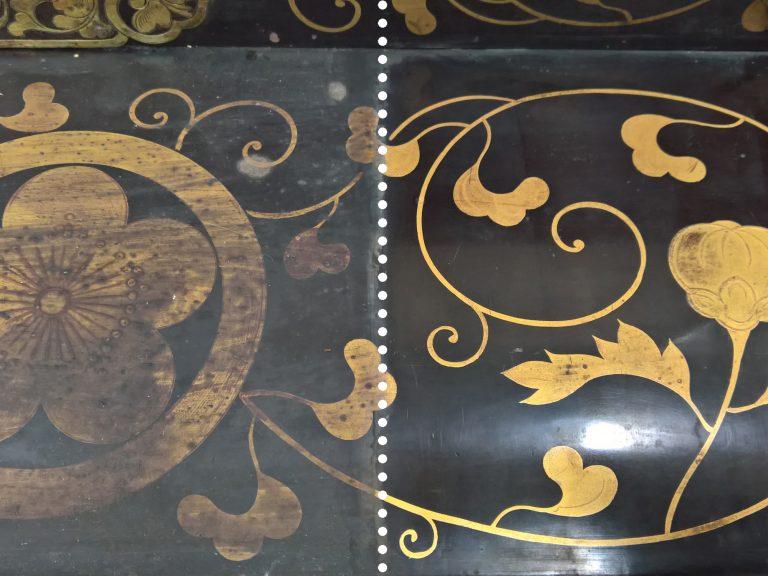 Particolare di decorazione dorata su lacca giapponese durante la fase di pulitura