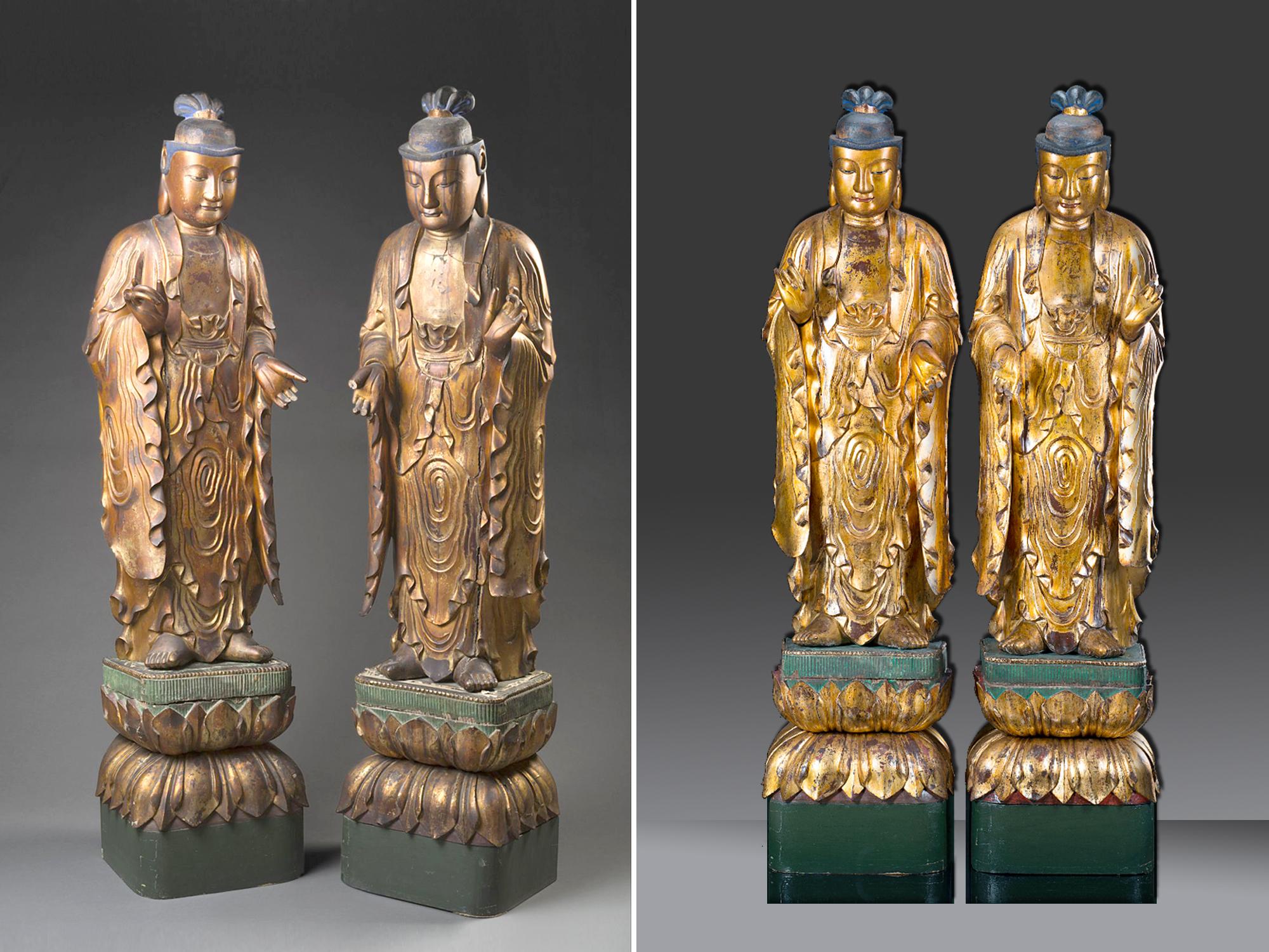 restauro coppia bodhisattva cinesi confronto