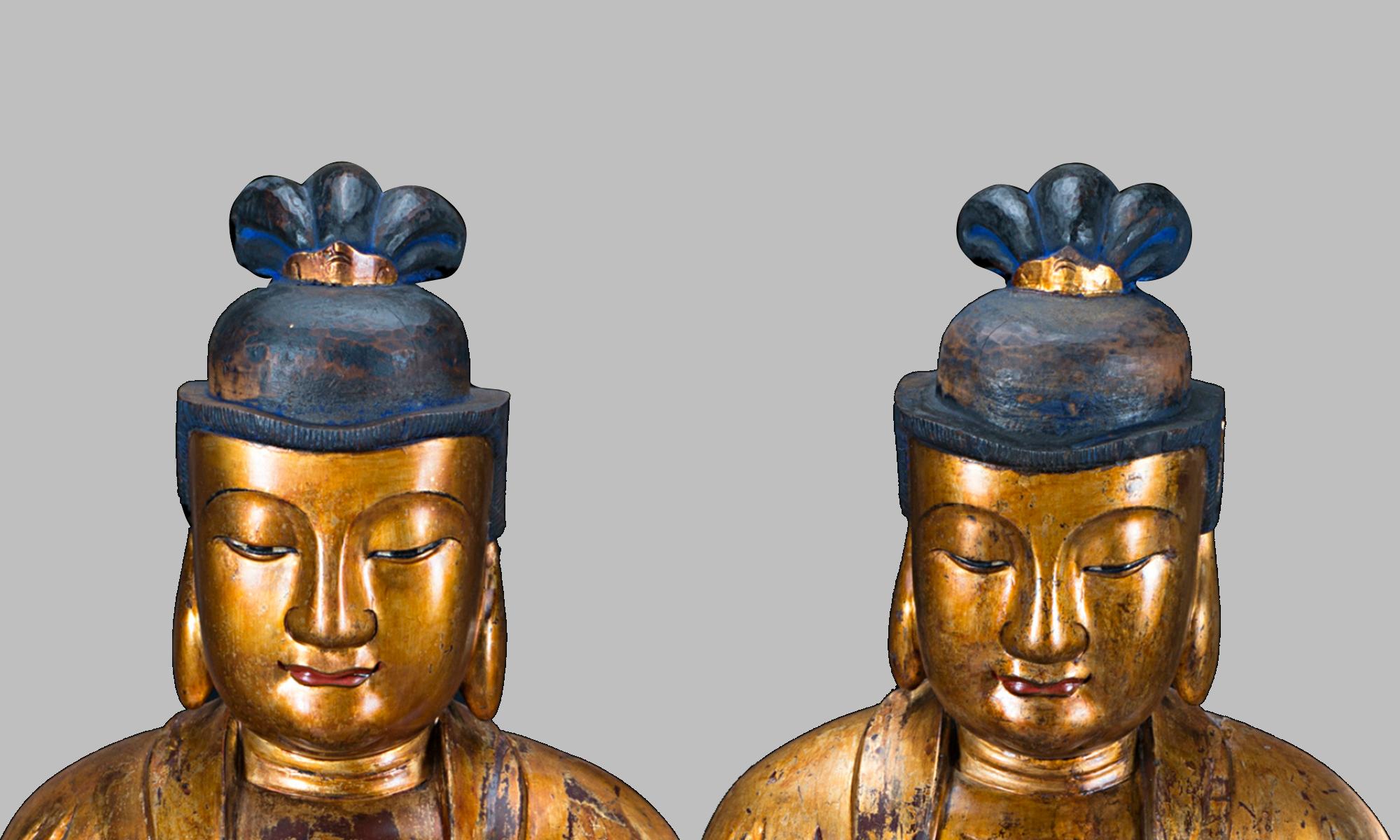 restauro coppia bodhisattva cinesi