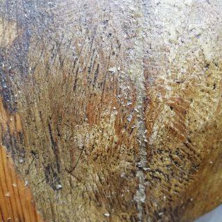 Operazioni di stuccatura di scultura lignea con la tecnica dello stucco di legno